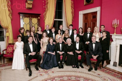Bush Family Portrait in the Red Room at the White House