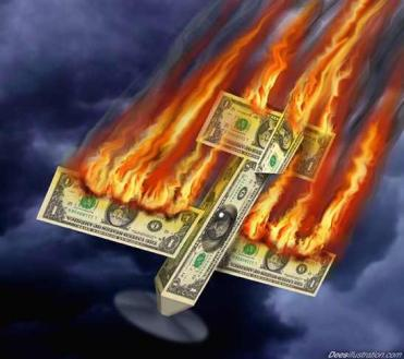 dollar-in-flames