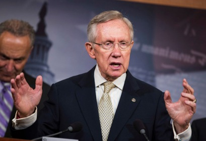 Senate Majority Leader Reid speaks at a press conference about a bill to restore the contraceptive coverage requirement guaranteed by the Affordable Care Act on Capitol Hill in Washington
